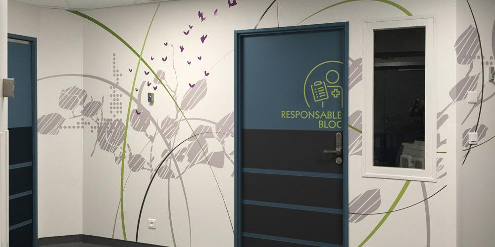 Clinique Oudinot décors muraux et signalétique en adhésif service de chirurgie ambulatoire