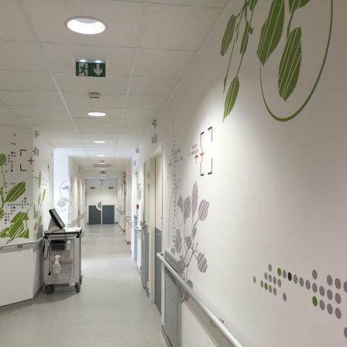 Clinique Oudinot décors muraux circulation hospitalisation