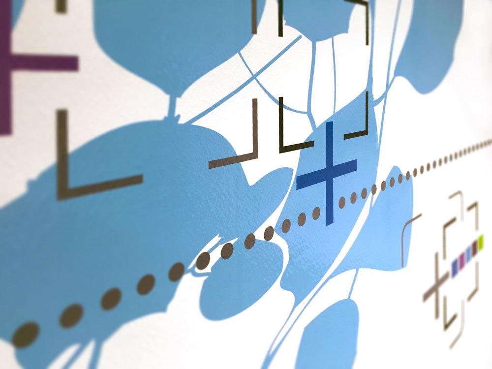 Clinique Oudinot détails décor mural adhésif salle de réunion