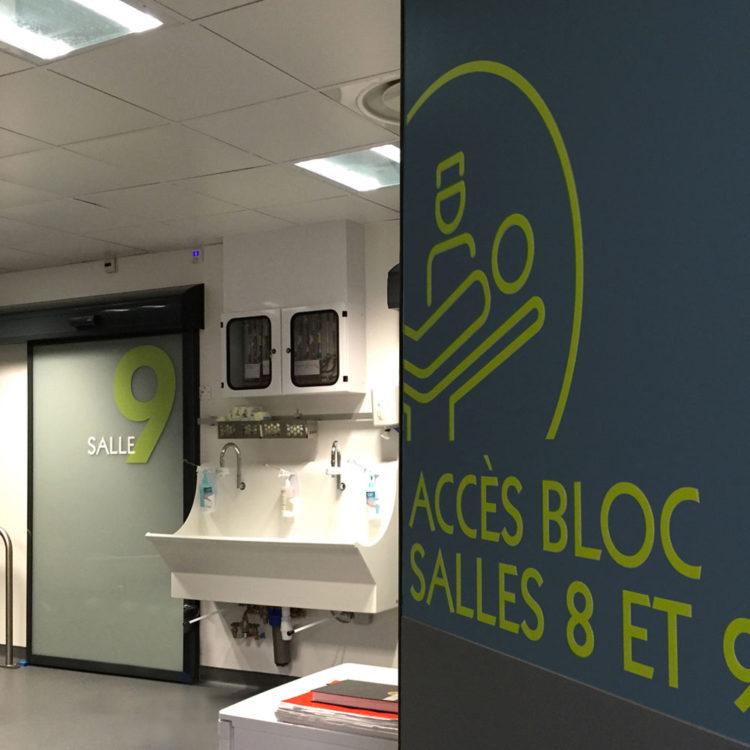 Clinique Oudinot chirurgie ambulatoire signalétique d'accès aux blocs