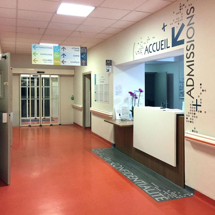 Clinique Oudinot signalétique Accueil et Admission