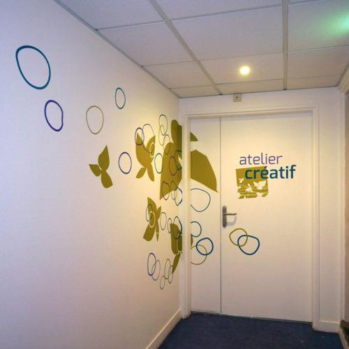 Décors muraux et signalétique pour l'atelier créatif de la MAS du Dr Arnaud
