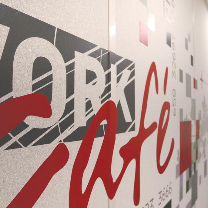 Design mural - Détail d'un habillage mural Work Café pour la Société Générale à Lyon