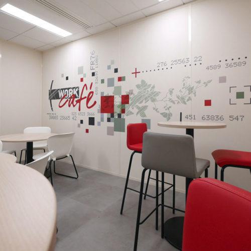 Design mural - Habillage mural Work Café pour la Société Générale à Lyon