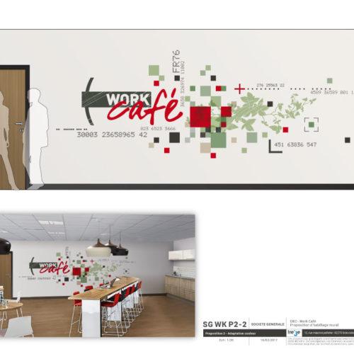 Etude habillage mural Work Café pour la Société Générale à Lyon