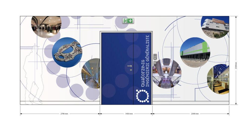 Planche d'étude pour la décoration murale en adhésif pour l'entrée des bureaux de QIG à Paris