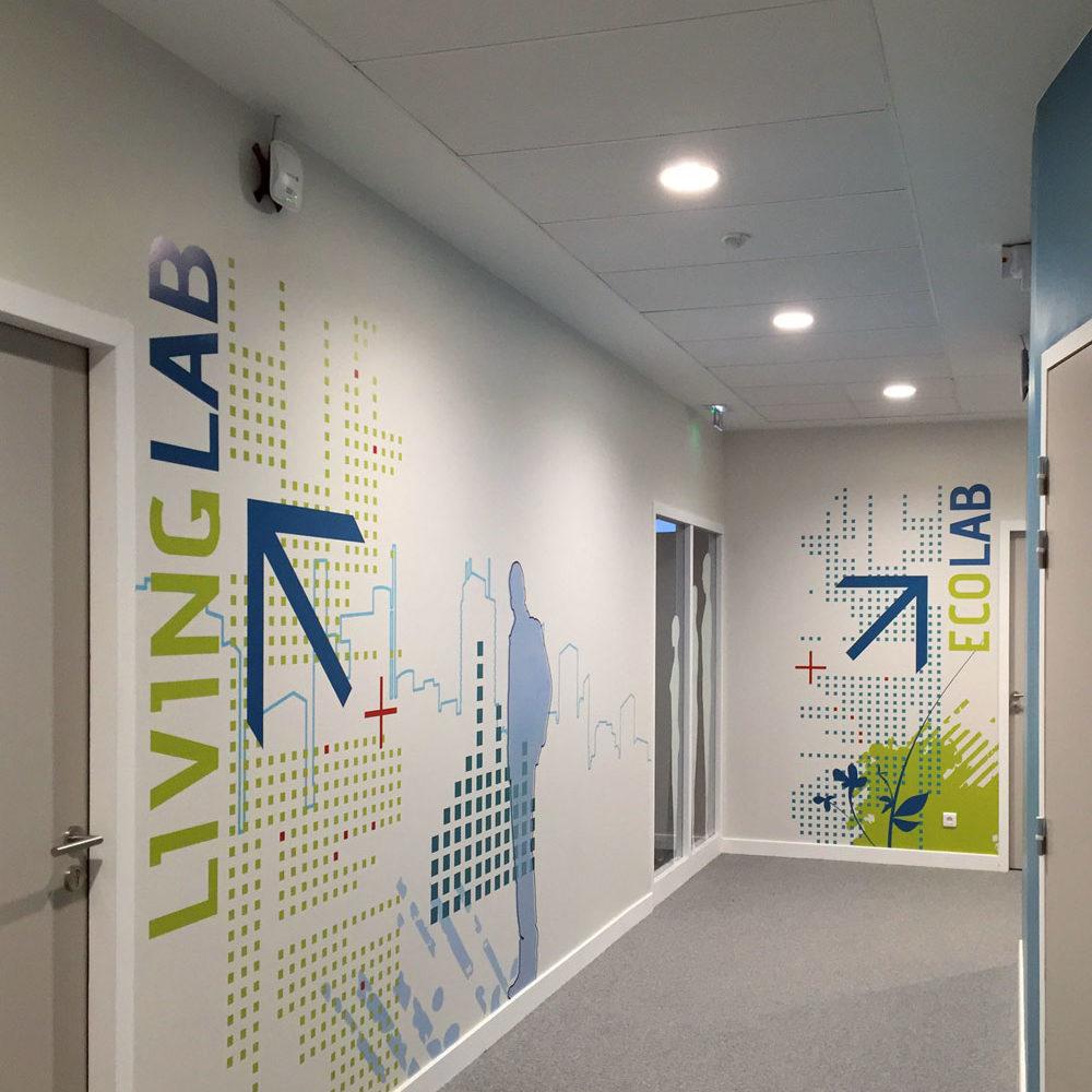 Design mural et signalétique pour les locaux du FCBA à Champs sur Marne