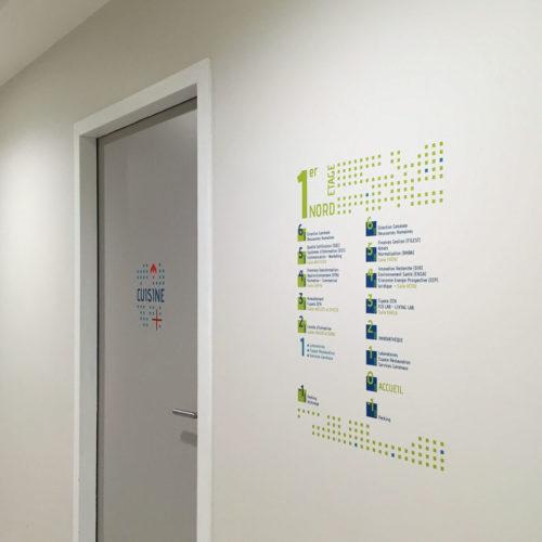 Signalétique décorative pour les locaux du FCBA à Champs sur Marne