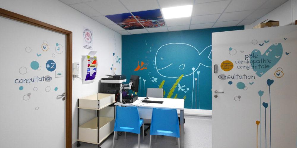 Décor Mural et Signalétique pour le service de cardiolopathie congénital de l'hopital Marie Lannelongue