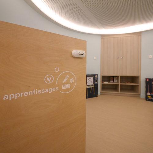 Signaletique interieure creche inclusive les bullotins salle d'apprentissages