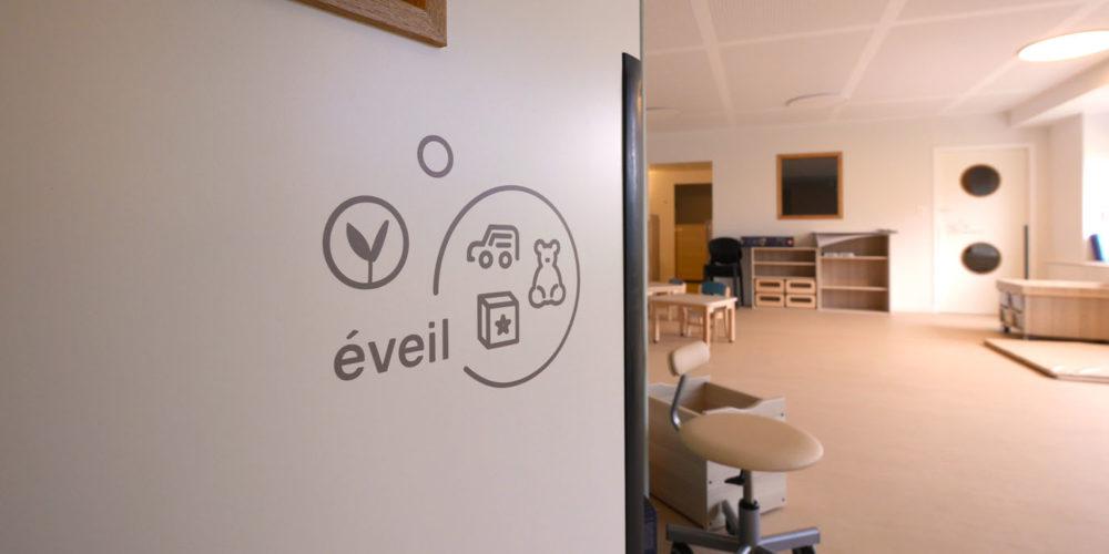 Signaletique interieure creche inclusive les bullotins salle d'eveil