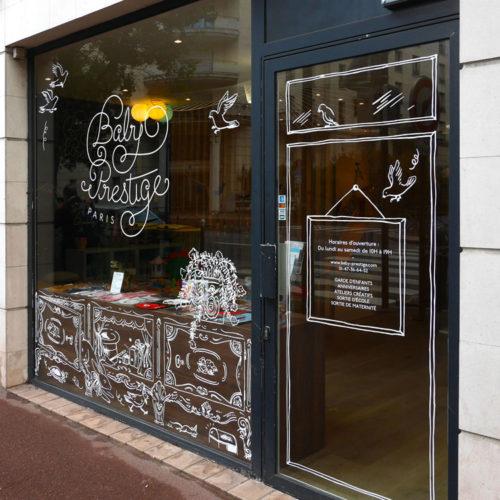 Vitrophanie sur mesure boutique Baby Prestige a Chatillon